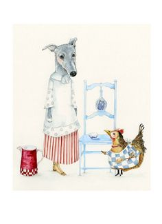 Print Dog Kitchen Maid and Chicken Cook illustration