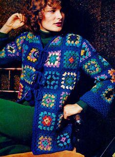 64 Trendy Ideas For Crochet Granny Square Jacket Pattern Projects Kelly Green, Cardigan Vintage, Sweater Cardigan, Crochet Jacket Pattern, Granny Pattern, Wrap Pattern, Gillet, Granny Square Sweater, Vintage Crochet Patterns
