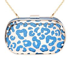Zapals Designer Box Clutch Abstract Hollow-out Metallic Gilded Hard Case - Blue. ZAPALS designer metallic box clutch. Abstract & hollow-out design. Noble, trendy yet elegant. Detachable shoulder chain. Chic clasp closure. Cross-body bag/ box clutch. Perfect for both special and casual occasions! Such as party, wedding.