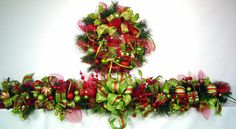 Christmas Holiday Mantel Garland Red Lime BiG BoLD BeauTifuL Prelit Lush n LoaDed 6 ft matching Wreath available