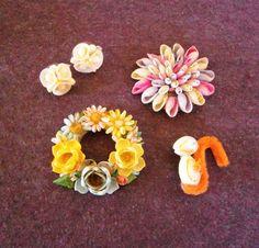 Brooch Sea Shells Earrings Vintage Handmade Real Pin Lot Pink Purple Flower Wreath Yellow Blue Orange Squirrel Pink Chipmunk by AVintageYardSale on Etsy https://www.etsy.com/listing/290408179/brooch-sea-shells-earrings-vintage
