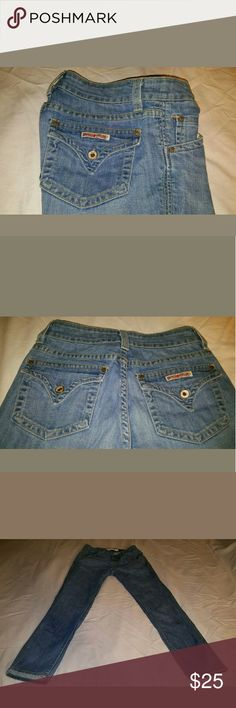 """Hudson Jeans skinny short Cute Hudson Jeans in good condition. Light blue color, triangle back pockets.   Measurements are approximate, lying flat not stretch.      Across waist 12.5""""     Rise 8""""     Hips 16.5 """"     Inseam 25.5""""     Leg Opening 5.5"""" Hudson Jeans Jeans Skinny"""