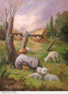Creepy art....The face stands out but then you notice it is just normal things that make up the face....