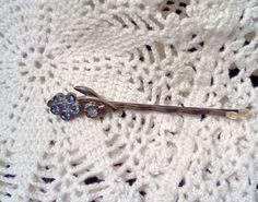 Vintage Hair Pin Blue Sapphire Rhinestone by WeeLambieVintage, $7.95