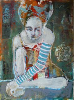 when it's over two original mixed media figure by janespakowsky
