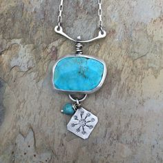 Turquoise Necklace with Thai Silver charm. For by coldfeetjewelry