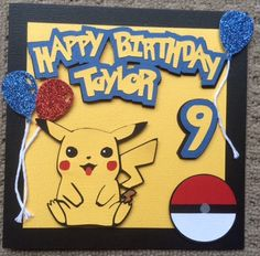 A Pokemon Themed Birthday Card Cards For Boys Bday