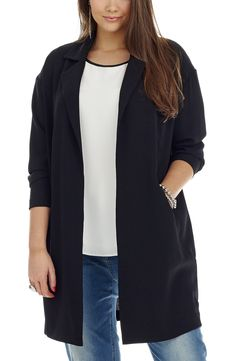 Long-line Duster Jacket - black -  Style No: JK11141 Summer Crepe Fabric unlined Duster jacket. This Long line Duster Coat has a centre Back Split and 2 welt pockets. It features an open Lapel front. The perfect summer coat. #dreamdiva #dreamdivafiles #fashion #plussize