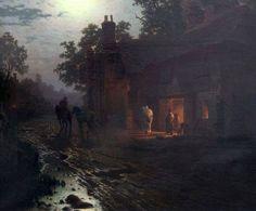 Village blacksmith in the moonlight, 1886 by Louis Douzette.
