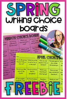 Choice is KEY in elementary! Use this product as a Writing Center during a Balanced Literacy Block. This will motivate your students to write! #teacherspayteachers #freeteachingresources #spring #choiceboards #elementary #writing #secondgrade
