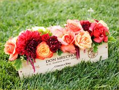 Wine Crate centerpiece, nice for late summer or fall
