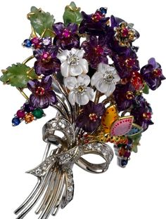 Trifari Alfred Philippe Brooch.  White and purple violets made from gemstones and enamel.  (Photo only.)
