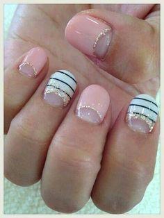 Pale pink - Black - White - Stripes - Gold - Glitter