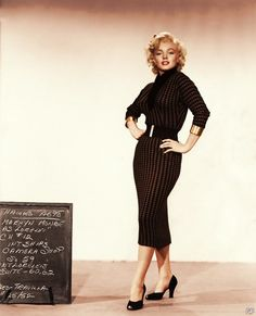 Marilyn Munroe, black sheath dress from movie Diamonds Are A Girl's Best Friend