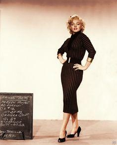 Marilyn Munroe, black sheath dress from movie Diamonds Are A Girl's Best Friend