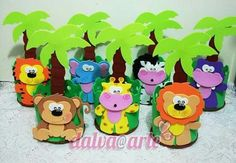 Set of 6 Safari Animals Foam Decorations for a Baby Shower, 3 different sizes, great jungle themed centerpieces Safari Party, Jungle Party, Safari Theme, Jungle Theme, Tin Can Crafts, Foam Crafts, Diy And Crafts, Crafts For Kids, Paper Crafts