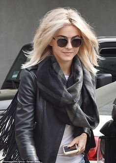Julianne Hough channels her sexy Grease role in leather jacket Blonde ambition: The rocked her freshly preened platinum tresses with a black fringed-sleeved leather jacket, as she left Nine Zero One Cheveux Julianne Hough, Julianne Hough Bob, Blonde Hair Julianne Hough, Julianna Hough, Hair Inspo, Hair Inspiration, Pelo Cafe, Platinum Blonde Hair, Blonde Hair With Fringe