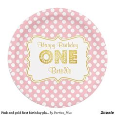 Pink and gold first birthday plates
