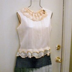 Cropped Vintage Top Blouse Repurposed Old Crochet Lace, Button Back, Size Medium $25