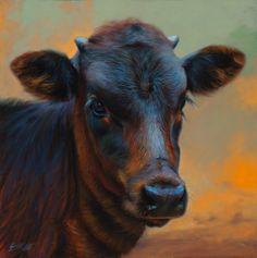 Realistic Drawing Patterns Indigo Crossing by Teresa Elliott Oil ~ 20 x 20 Amazing Paintings, Realistic Paintings, Realistic Drawings, Cow Photos, Cow Pictures, Cow Painting, Painting & Drawing, Gado, Farm Art