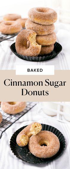 Baked Cinnamon Sugar Donuts - Broma Bakery Cinnamon Cake Donut Recipe, Easy Donut Recipe, Baked Donut Recipes, Cinnamon Sugar Donuts, Baked Donuts, Doughnuts, Monkey Bread Muffins, Broma Bakery, Homemade Donuts