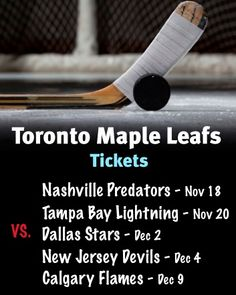 $99 and Up for Tickets to the Toronto Maple Leafs vs. Nashville Predators on November 18 OR Tampa Bay Lightning on November 20 OR Dallas Stars on December 2 OR New Jersey Devils on December 4 OR Calgary Flames on December 9 New Jersey Devils, Tampa Bay Lightning, December 4, Toronto Maple Leafs, Predator, Calgary, Nashville, Dallas, Stars
