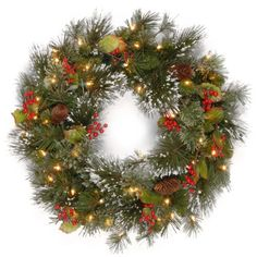 Buy the Wintry Pine® Wreath with Pine Cones, Red Berries, Snowflakes & Warm White LED Lights at Michaels. The Wintry Pine wreath features mixed branch tips trimmed with red berries, pine cones, holly leaves and snowflakes. Pre Lit Wreath, Christmas Wreaths With Lights, Lighted Wreaths, Artificial Christmas Wreaths, Christmas Door Decorations, Winter Wreaths, Holiday Wreaths, Elf Decorations, Christmas Greenery
