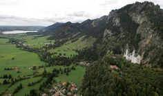 An aerial view of Neuschwanstein Castle and the surrounding area near Schwangau, about 120 km (75 mi) south of Munich, on October 4, 2006.