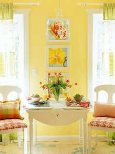 Designer says wall color is Benjamin Moore's Mellow Yellow. My decor Cottage Living, Cottage Style, Coastal Cottage, Coastal Decor, Living Room Paint, Living Room Decor, Yellow Cottage, Yellow Interior, Mellow Yellow