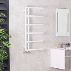 Designer Bathroom Heated Towel Rail Rad Radiator Ladder - 988 x 500 - White , Kristiansund, Bathroom Towel Rails, Heating And Plumbing, Towel Radiator, White Heat, Heated Towel Rail, Heating And Air Conditioning, White Towels, Central Heating