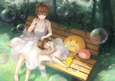 Anime picture with clannad key (studio) furukawa nagisa okazaki ushio zerox (pixiv) short hair brown hair multiple girls brown eyes sitting eyes closed lying bubble (bubbles) dress ribbon (ribbons) plant (plants) hair ribbon tree (trees) sundress Dango Clannad, Clannad Anime, Sad Anime, Anime Art, Anime Life, Clannad After Story, The Ancient Magus Bride, Familia Anime, Dream Fantasy