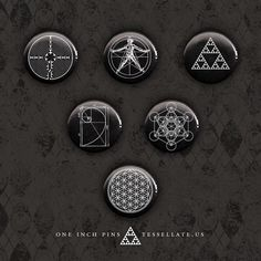Sacred Geometry Button Set - Six One Inch Pins