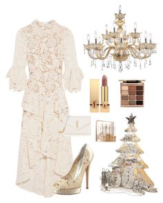 """""""Untitled #3211"""" by kotnourka ❤ liked on Polyvore featuring Rebecca Vallance, Casadei, Universal Lighting and Decor, National Tree Company, Yves Saint Laurent, Sephora Collection and Stila"""