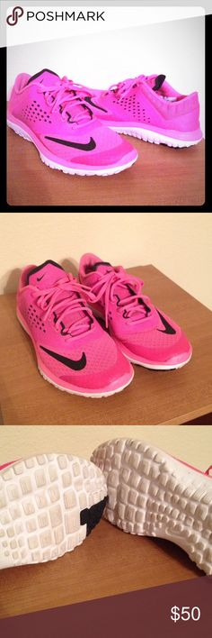 Nike Hot Pink Fitsole Shoes Only worn twice. No box. Very comfortable for running or working out. I will clean the bottoms before I send them to you :)  *price firm* Nike Shoes Sneakers