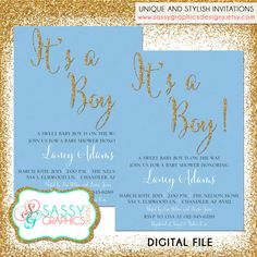 Boys Baby Shower Invite Baby Shower by SassyGraphicsDesigns