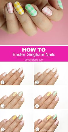 Pastel Easter nails how to - Gingham Nails How To