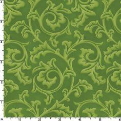 Green Scroll Fabric  Songbird Christmas MAS8137-G  1 by Jambearies
