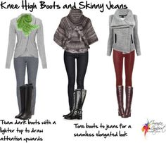 Knee+High+Boots+And+Jeans | knee high boots with skinny jeans by imogenl featuring zipper boots