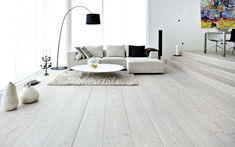 White wood floors - big modern living room with white floor. Living Room Wood Floor, Living Room Flooring, Bedroom Flooring, Living Room Furniture, Gray Furniture, Furniture Online, Furniture Decor, Loft Flooring, Solid Wood Flooring