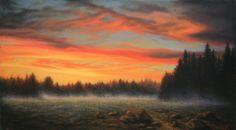 """Meadow In The Sky 13"""" X 24"""" Pastel on Board Original Artwork by Travis Wheeler"""