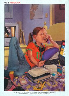 "Reader's Digest back cover, September 2006  Illustration: ""My Space"" by C.F. Payne  2006 was the year that Facebook hit! Millions of teens, to this day, are plugged into their cell phones, computers, and music daily. We love how this image portrays society today even 6 years after it was illustrated."