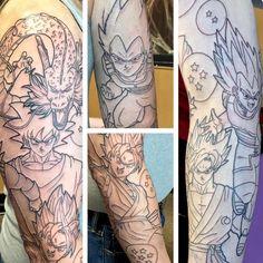 I promised some linework! Here's the #dragonballz full sleeve I started yesterday. So many huge tattoos this month! #animetattoo #goku #vegeta #supersaiyangod - Visit now for 3D Dragon Ball Z compression shirts now on sale! #dragonball #dbz #dragonballsuper