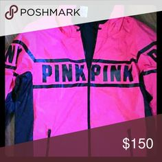 V.S. PINK NEON PINK ANORAK COTTON LINNED .NEW Never worn size large,waterproof,cotton linning inside with hood,warm and oh so cute. Victoria's Secret Jackets & Coats Utility Jackets