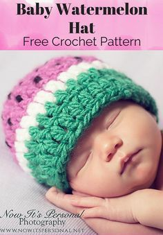 Free Crochet Pattern -- A super cute baby watermelon hat!! By Posh Patterns.