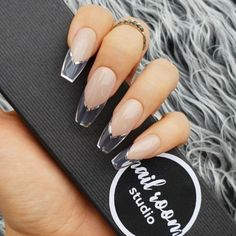 jelly nails -press on nails (Nail Room Studio) This is silver version of the clear frame fre nails acrylic Clear Acrylic Nails, Clear Nails, Silver Nails, Rhinestone Nails, Hair And Nails, My Nails, Glue On Nails, Clear Nail Designs, Jelly Nails