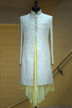 Buy Cream Resham Embroidered Raw Silk Indowestern Sherwani Online