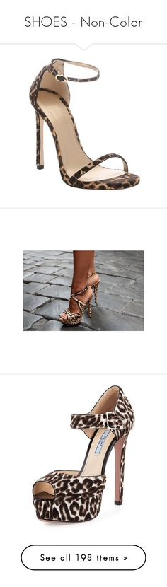 """SHOES - Non-Color"" by lynesse ❤ liked on Polyvore featuring shoes, sandals, heels, sapatos, pecan leopard print, strappy high heel sandals, high heel stilettos, ankle strap stilettos, ankle strap shoes and leopard sandals"