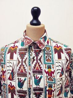 Vintage #1990s Crazy Pattern Afrobeat Geometric Fresh Prince Shirt XL