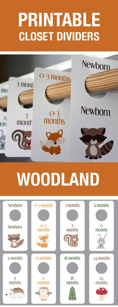 Woodland Creatures Baby Room Theme, Woodland Creatures Nursery Theme, Animals Baby Room, Baby Room Decor, Printable Closet Dividers, Printable Baby Labels, Closet Organization, Baby Room Themes