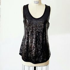 "Philosophy Black Sequin Scoop neck Long Tank Philosophy Black Sequin Scoop neck Long Tank.  Sequin front, knit back. Super soft knit. Drapy fit.  Length 30"" Side seam 18.5"" Across bust 19"" Philosophy Tops Tank Tops"